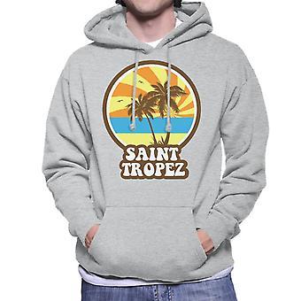 Saint Tropez Beach Retro Men's Hooded Sweatshirt