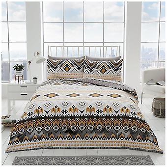 Dakota geométrica Duvet edredón cubierta Polycotton lecho con fundas de almohada