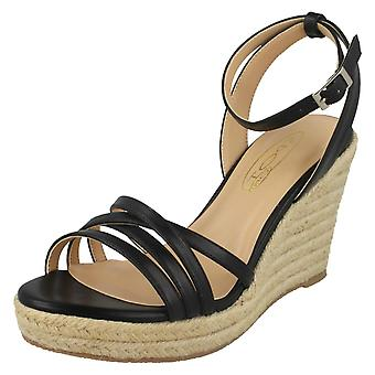Ladies Spot On Rope Wedge Strappy Sandals F2275