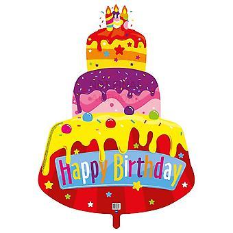 Forma de folha de balão bolo do bolo feliz aniversário 80x110 cm balão de hélio