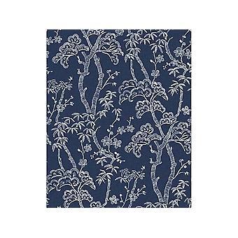 Fine Decor Indigo bleu bonsaï arbres floral texturé papier peint pâte vinyle mural