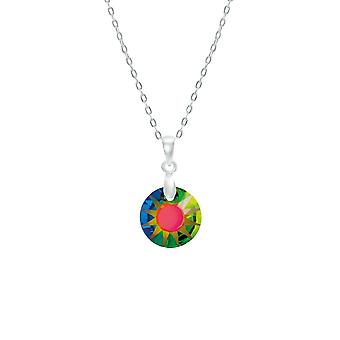 Eternal Collection Solar Petite Green Vitrail Austrian Crystal Sterling Silver Pendant