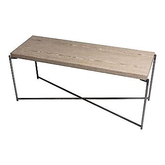 Gillmore Weathered Oak Low Console Media Table With Gun Metal Cross Base