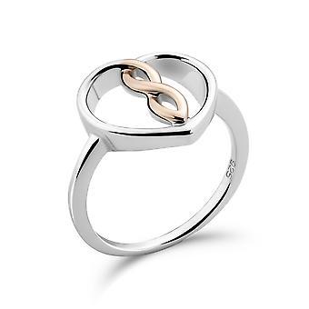 Orphelia 925 sølv ring hvid/rose hjerte
