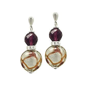 Wieczne kolekcji Aventurina fioletowy szkła weneckiego Murano srebrnej tonacji Drop kolczyki Kolczyki