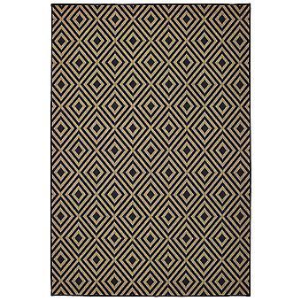 Marina 2335k black/ tan indoor/outdoor rug rectangle 7'10