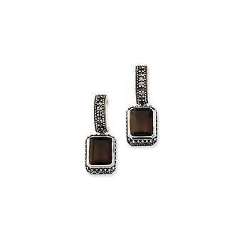 925 Sterling Silver Post Earrings finish With 14k 14.00Smokey Quartz Earrings Jewelry Gifts for Women