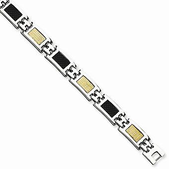 Rostfritt stål polerad Fold-over 14k guld och kolfiber armband - 8 tum