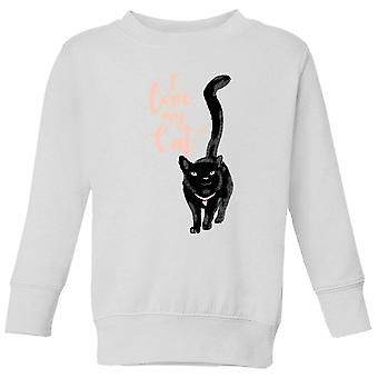 I Love My Cat Black Cat Kids-apos; Sweatshirt - Blanc