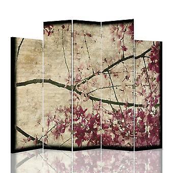 Dekorative Raumteiler, 5 Paneele, doppelseitig, drehbar 360 ?? Leinwand, Blühender Zweig 8