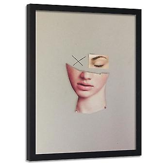 Affisch i ram, collage av en kvinna ' s ansikte