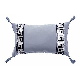 Elegant Smoke Gray Greek Key Lumbar Accent Pillow