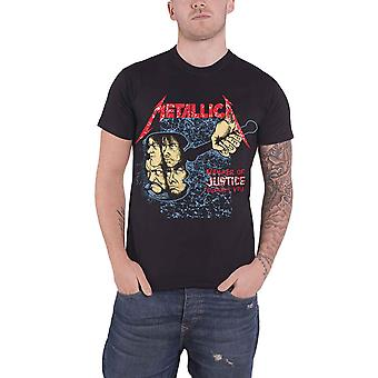 Metallica T Shirt Hammer Of Justice band logo new Official Mens Black