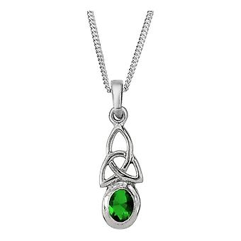 "Celtic Holy Trinity Knot Birthstone Necklace Pendant May - Emerald Stone - Includes 16"" Chain"
