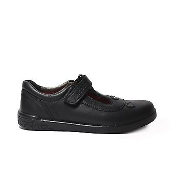 Ricosta Liza Black Leather Girls Rip Tape T Bar School Shoes