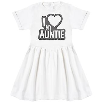 I Love My Auntie Black Outline Baby Dress