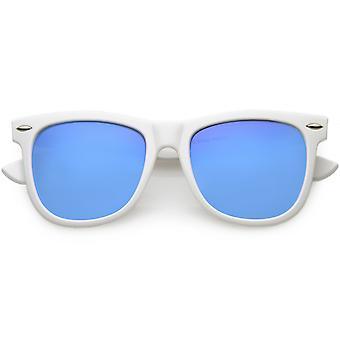 Large Classic Bold White Frame Flash Mirror Lens Horn Rimmed Sunglasses 46mm