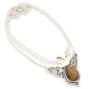 Tiger Eye Necklace 925 Silver Sterling Silver Chain Necklace Brown (MCO 09-18)