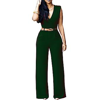 Womens chic overlay belted sleeveless wide jumpsuit playsuit