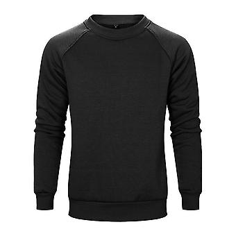 Allthemen Men's Solid Round-neck Plus Velvet Sweatshirt