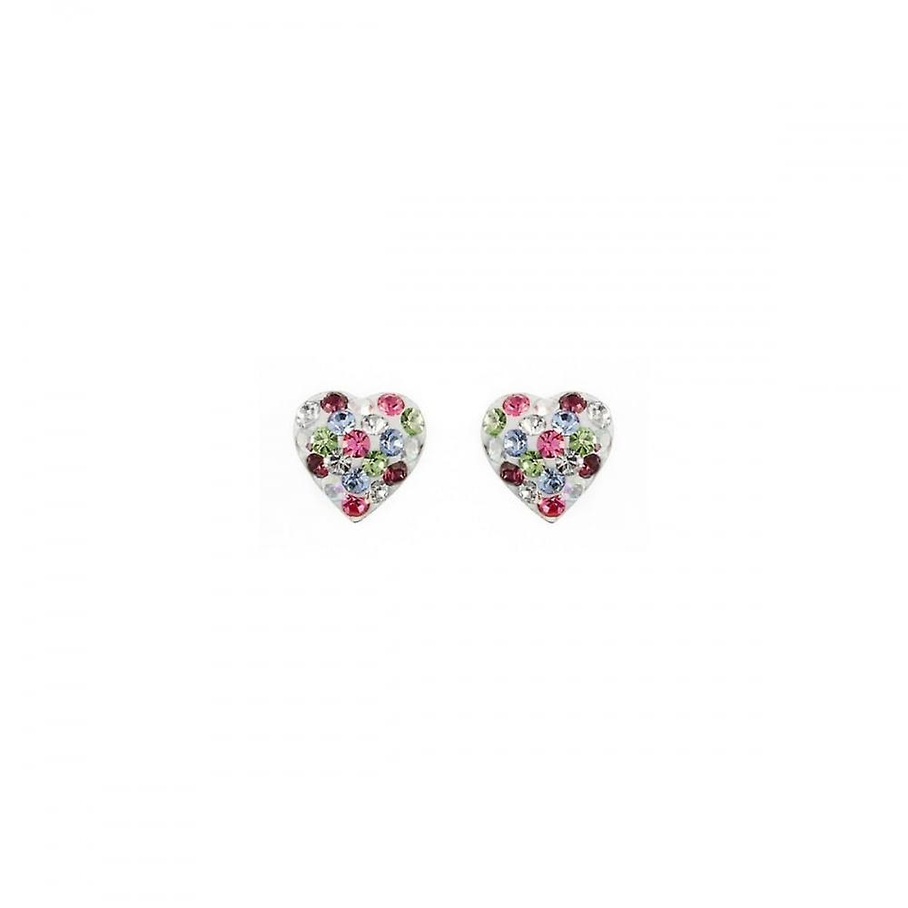 Eternity Sterling Silver Kids Multi-Colour Crystal Heart Stud Earrings