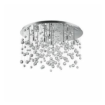 12 Light Large Semi Blown Glass Bubbles Flush Plafond Pendant Chrome
