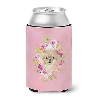 Carolines Treasures  CK4219CC Pomeranian Pink Flowers Can or Bottle Hugger