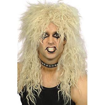 Долго блондинка вьющиеся парик, жесткий рокер парик, 1970, 1980 Fancy платье
