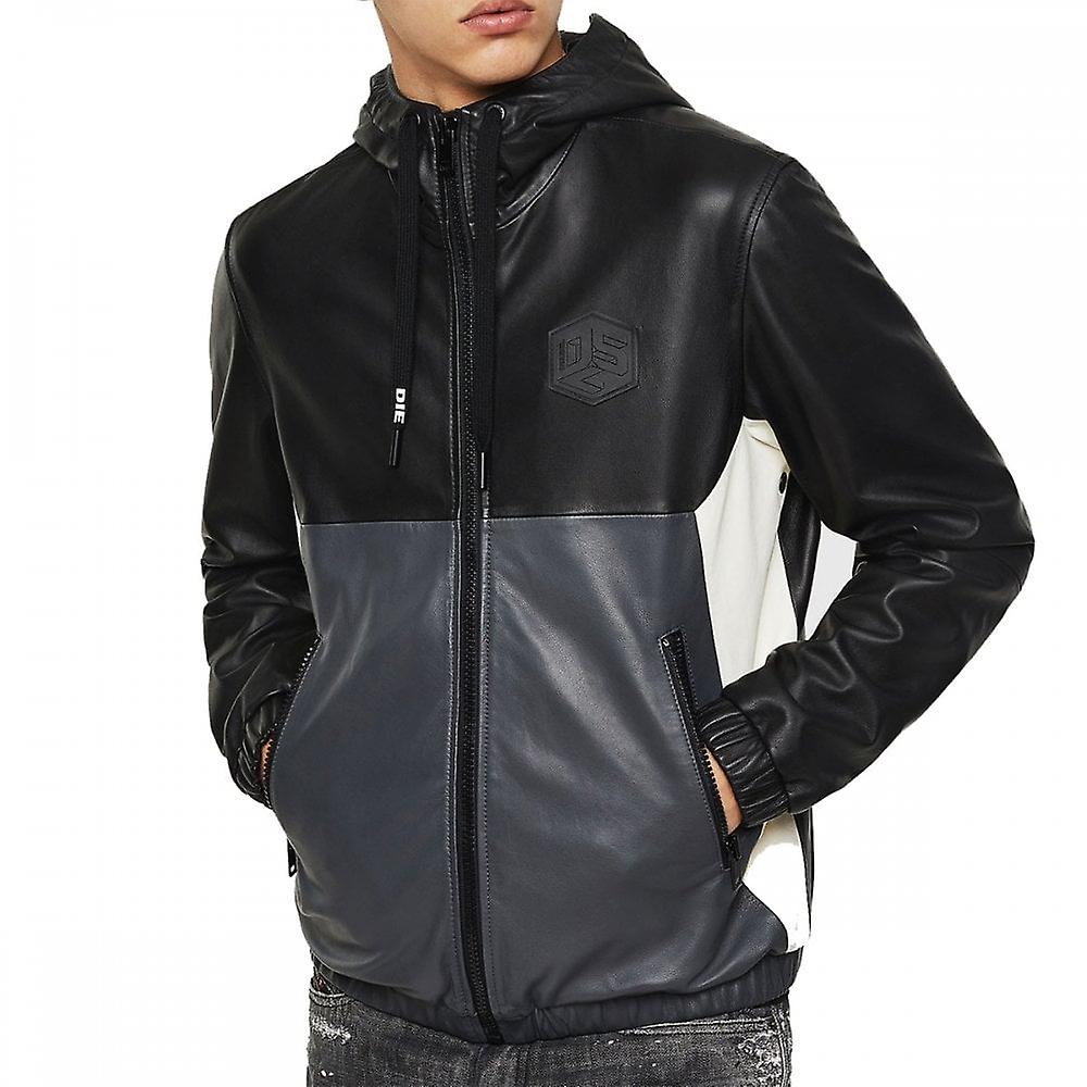 Diesel L Carr Leather Panel Hooded Jacket