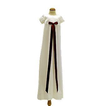 Dopklänning Grace Of Sweden, Stilren Med Vinröd Rosett  Pr.ka