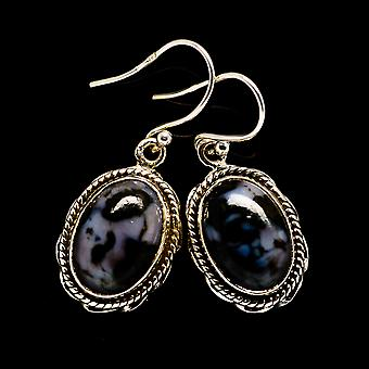 "Gabbro Earrings 1 1/4"" (925 Sterling Silver)  - Handmade Boho Vintage Jewelry EARR395621"
