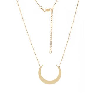 14k Yellow Gold Adjustable Cresent Moon Necklace Sparkle Cut Cable 18 Inch Jewelry Gifts for Women