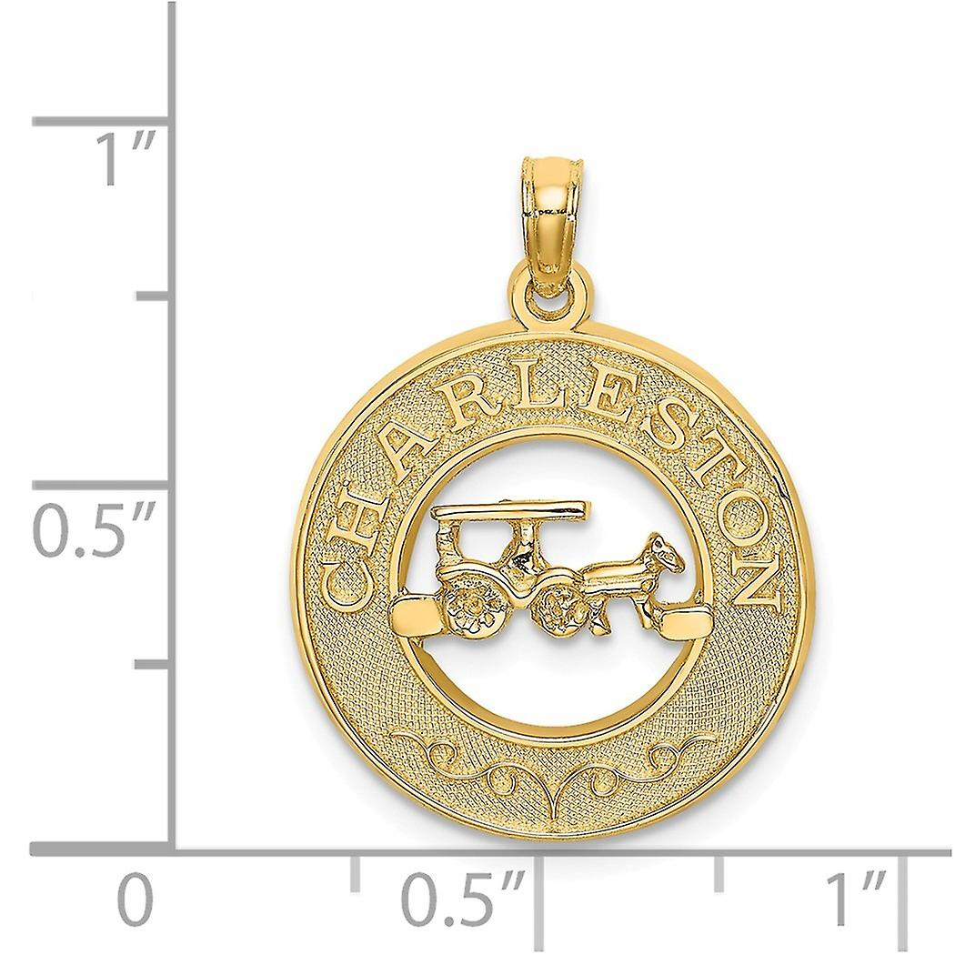 14k Gold Char Pendant Necklaceleston Round Frame With Horse and Cart Center Jewelry Gifts for Women