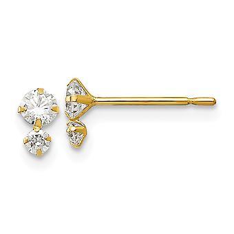 14k Yellow Gold Madi K CZ Cubic Zirconia Simulerad Diamant för pojkar eller flickor Post Örhängen