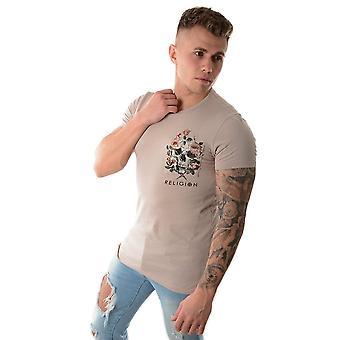 Religion 19bpcg84 Pocket Skull Rose Print T-shirt - Peach