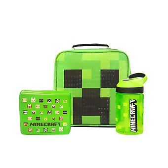 Minecraft Creeper Face Lunch Bag Set (School Lunch Bag, Water Bottle, Snack Pot)
