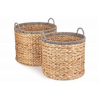 Set of 2 Round Water Hyacinth Basket With Grey Rope Border