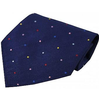 David Van Hagen Pin Dots Silk Handkerchief - Navy/Multi-colour