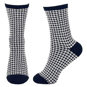 Feminino'Navy Blue and White Houndstooth Crew Socks