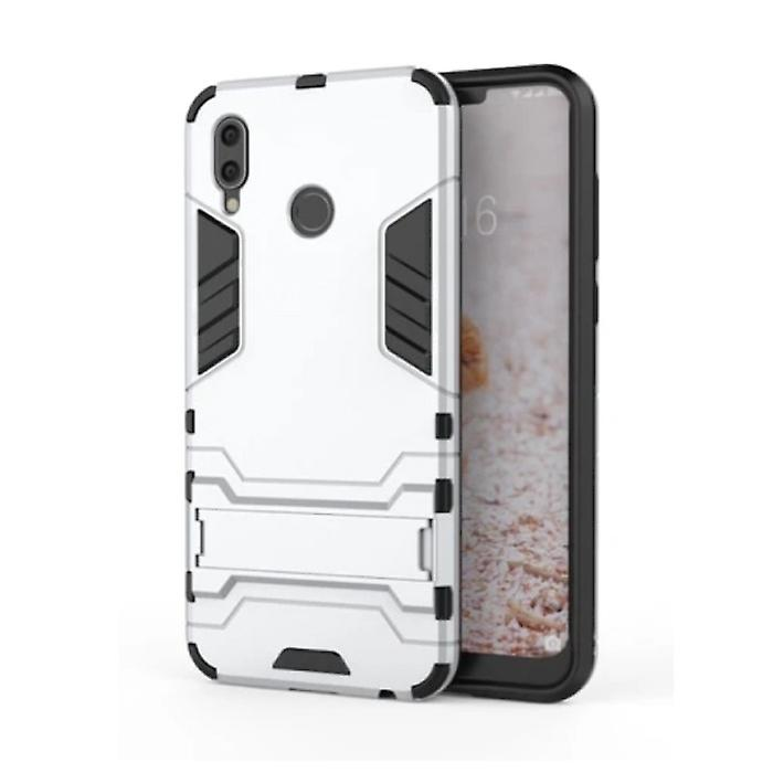 HATOLY iPhone XS Max - Robotic Armor Case Cover Cas TPU Case White + Kickstand