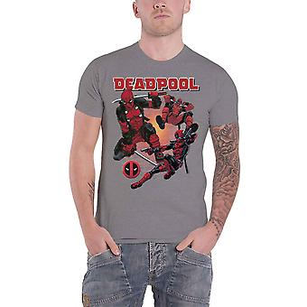 Deadpool T shirt Deadpool Fight collage logo ny officiel Marvel Herre grå