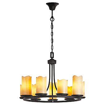 Glasberg - noir neuf pendentif lumineux avec des nuances en marbre 382017109