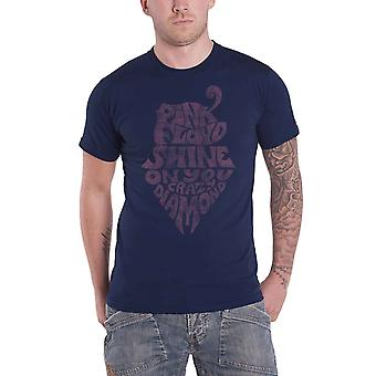 Pink Floyd T camisa brillo te crazy Diamond Vintage oficial Mens Navy Blue