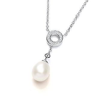 David Deyong Sterling Silver Freshwater Pearl Cz Circle & Drop Necklace