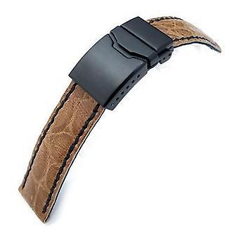 Strapcode crocodile grain watch strap 21mm crococalf (croco grain) honey brown watch strap with black stitches, button chamfer clasp, pvd black