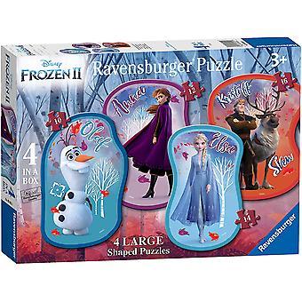 Ravensburger Disney Frozen 2, 4 Store Formet (10, 12, 14, 16pc) Puslespil