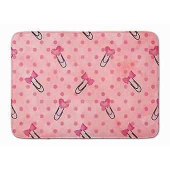 Watercolor Paper Clips and Polkadots Pink Machine Washable Memory Foam Mat