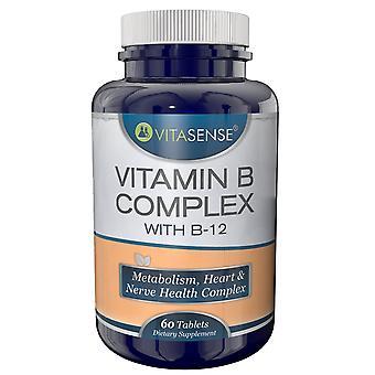 VitaSense B Complex + Vitamin B-12 - Metabolism Heart & Nerve Hälsa Complex - 60 Tabletter