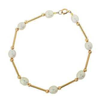 TOC 9ct Yellow Gold White Symmetrical Freshwater Cultured Pearl Bracelet 8