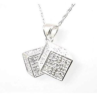 """TOC Sterling Silver Clear CZ Dice Pendant Necklace 18"""""""